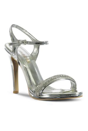 Marjin İcil Topuklu Abiye Ayakkabı Gümüş