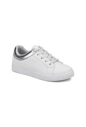 I Cool Glossy Beyaz Lame Kız Çocuk Ayakkabı