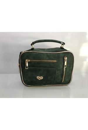 Çanta Stilim Model 6160 Nubuk Deri Yeşil Renk Bayan Çantası