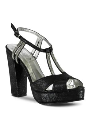 Marjin Manes Platform Topuk Abiye Ayakkabı Siyah