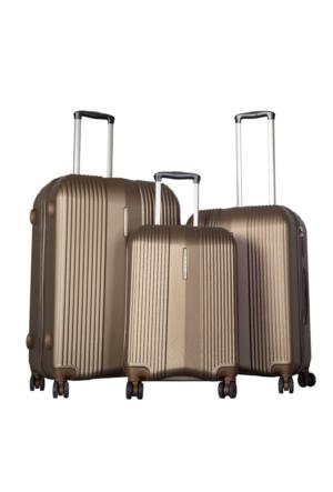 Bese Polycarbonate Valiz Seti BS10589-Set Kahverengi