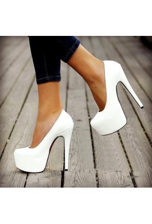 Esmoda VD-8005 Beyaz Deri Platform Topuklu Ayakkabı