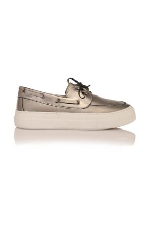 Esmoda SM-8001 Platin Deri Bayan Bağcıklı Günlük Ayakkabı