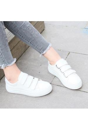 Esmoda SM-8003 Beyaz Deri Bayan Günlük Cırtlı Ayakkabı