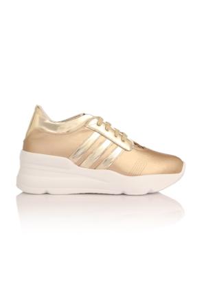 Esmoda SM-8007 Altın Deri Bayan Günlük Bağcıklı Ayakkabı