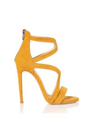 Esmoda VD-1147 Hardal Süet Bayan Topuklu Ayakkabı