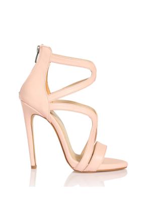 Esmoda VD-1147 Pudra Deri Bayan Topuklu Ayakkabı