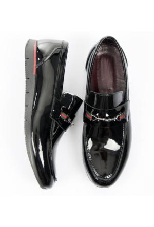 Siyah Poli Taban Demir Tokalı Rugan Erkek Ayakkabı 1701009-002 Deepsea