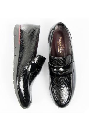 Siyah Poli Taban Petek Desenli Rugan-Deri Erkek Ayakkabı 1701017-002 Deepsea