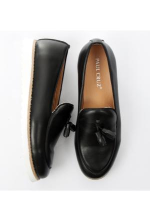 Siyah Yüksek Poli Taban Biyeli Püsküllü Rugan Erkek Ayakkabı 1702007-002 Deepsea