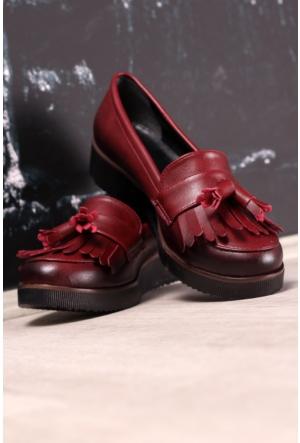 Modaateşi Püsküllü Oxford Ayakkabı 01 Bordo