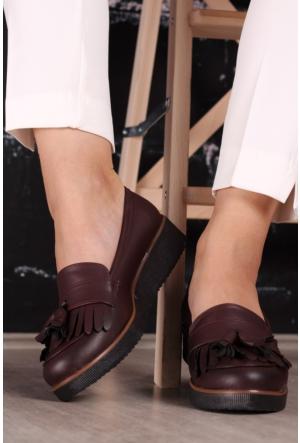 Modaateşi Püsküllü Oxford Ayakkabı 01 Koyu Bordo