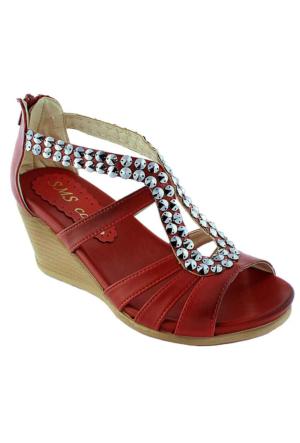 Sms 1035 Taşlı Dolgu Topuk Kadın Sandalet Kırmızı