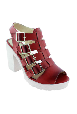 Sms 1123 Topuklu Kadın Sandalet Kırmızı