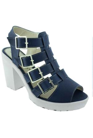 Sms 1123 Topuklu Kadın Sandalet Lacıvert