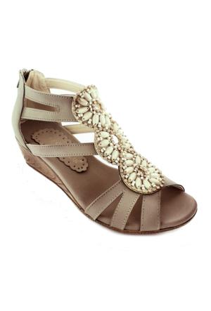 Sms 15100 Boncuklu Kadın Sandalet Vızon