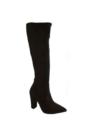 Chıcca Mag 210 Diz Üstü Kadın Çizme Siyah Suet