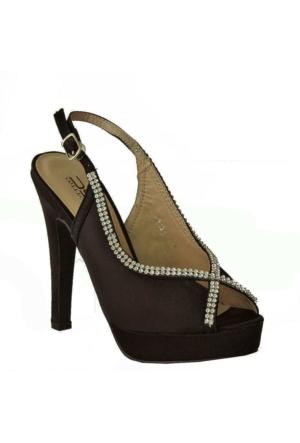 Dsn 2231 Saten Taşlı Kadın Ayakkabı Siyah