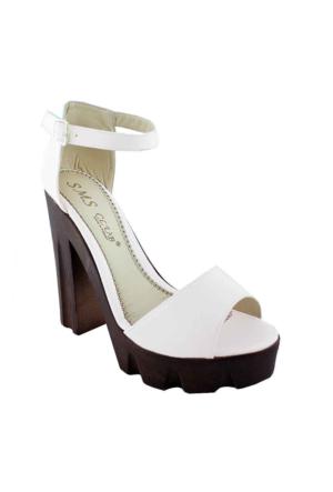 Sms 2696 Topuklu Kadın Ayakkabı Beyaz