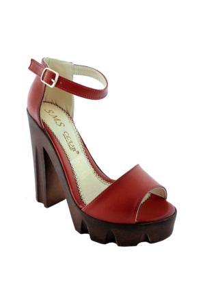 Sms 2696 Topuklu Kadın Ayakkabı Kırmızı