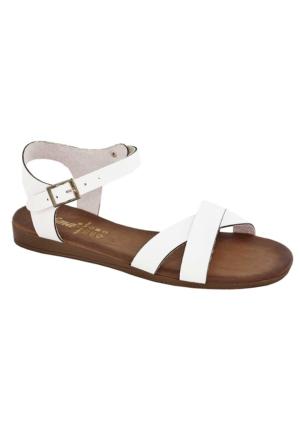 Tofima 4334 Kadın Çift Bant Sandalet Beyaz