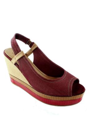 Sms 45115 Dolgu Topuk Kadın Ayakkabı Bordo