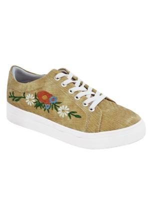 Tofima 463 Kadın Nakışlı Kot Ayakkabı Sarı