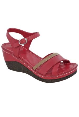 Gessı 5075 Deri Kadın Sandalet Kırmızı