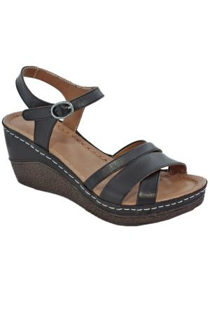Gessı 5075 Deri Kadın Sandalet Siyah