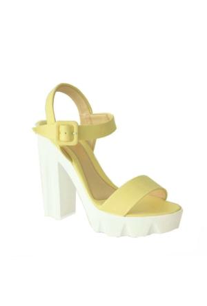 Meshure 737 Kalın Topuk Kadın Ayakkabı Sarı