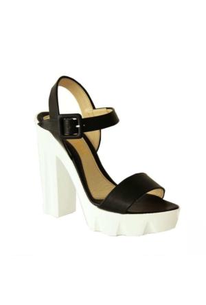 Meshure 737 Kalın Topuk Kadın Ayakkabı Siyah