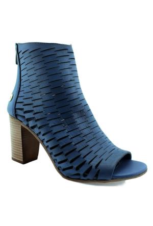 Mammamia D16Ya-3440 Topuklu Deri Kadın Ayakkabı Mavı
