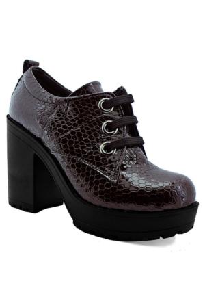 Mammamia D16Ya-920 Kadın Rugan Deri Ayakkabı Bordo