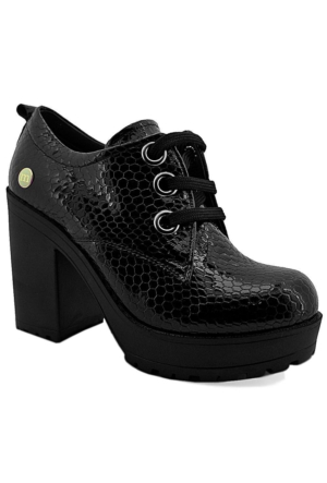Mammamia D16Ya-920 Kadın Rugan Deri Ayakkabı Siyah