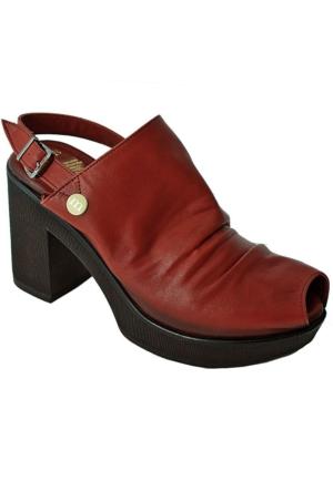 Mammamia D16Ys-1320 Deri Topuklu Kadın Ayakkabı Bordo