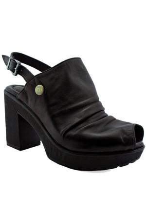 Mammamia D16Ys-1320 Deri Topuklu Kadın Ayakkabı Siyah