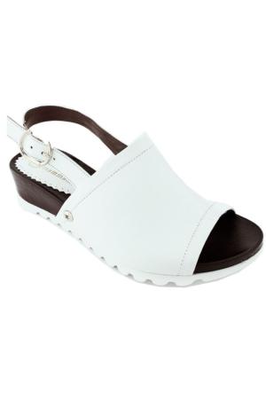 Mammamia D16Ys-1600 Deri Ortopedik Kadın Sandalet Beyaz