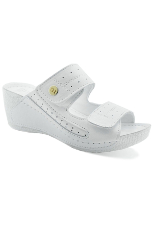 Mammamia D16Yt-2060 Deri Dolgu Topuk Kadın Terlik Beyaz