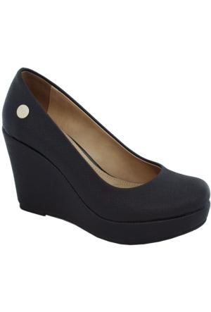 Mammamia D17Ya-140 Dolgu Topuk Kadın Ayakkabı Siyah