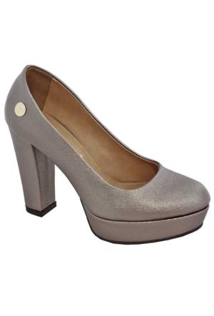 Mammamia D17Ya-3680 Kadın Platform Topuklu Ayakkabı Vızon
