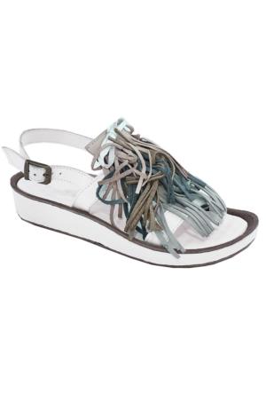 Mammamia D17Ys-1355 Deri Püsküllü Sandalet Beyaz