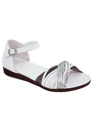 Mammamia D17Ys-1685 Deri Kadın Sandalet Beyaz
