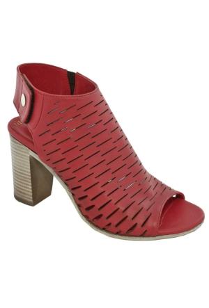 Mammamia D17Ys-1785 Deri Kadın Sandalet Kırmızı