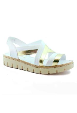 Green Life 786 Deri Kadın Sandalet Altın
