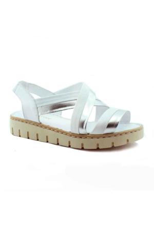 Green Life 786 Deri Kadın Sandalet Gumus