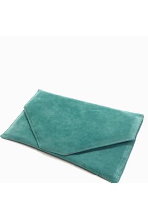 Milles Süet Zarf Abiye Çanta - Su Yeşili