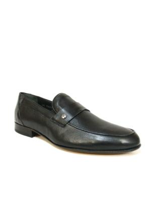 Burç 2424 Siyah Bağcıksız Kösele Erkek Ayakkabı