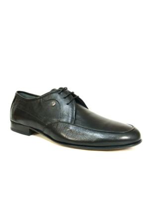 Burç 2428 Siyah Bağcıklı Kösele Erkek Ayakkabı