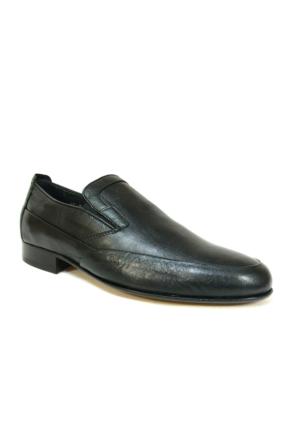 Burç 2456 Siyah Bağcıksız Kösele Erkek Ayakkabı