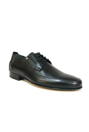 Burç 2457 Siyah Bağcıklı Kösele Erkek Ayakkabı